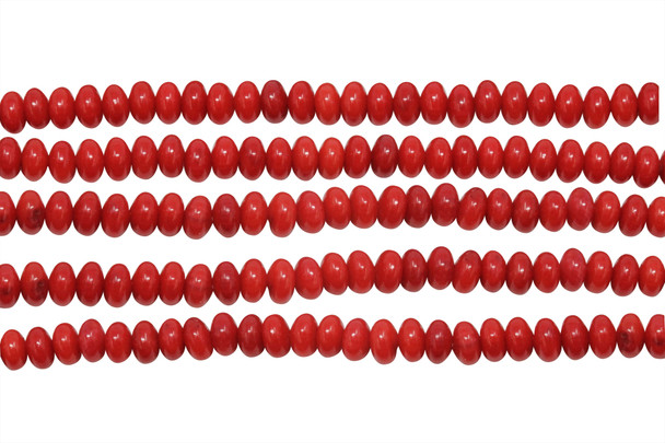 Red Coral Dyed Polished 3x5mm Saucer