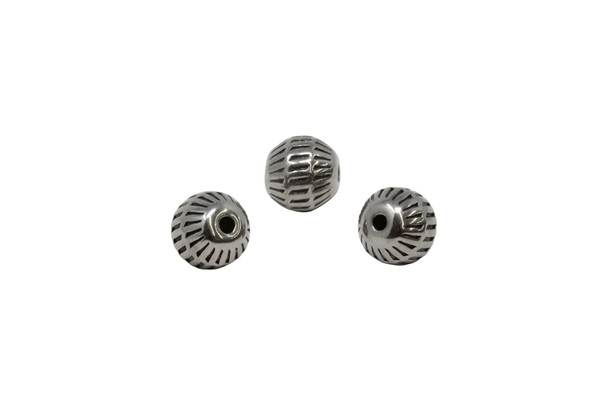 Stainless Steel 9.5mm Round Basket Bead