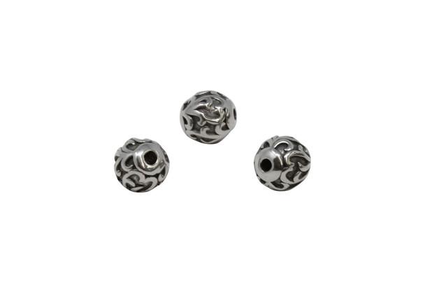 Stainless Steel 10mm Round Vine Bead