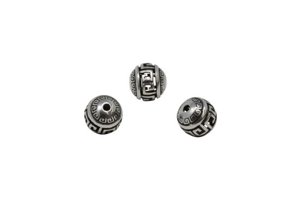 Stainless Steel 10mm Round Geometric Bead
