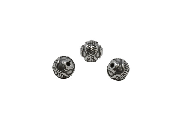 Stainless Steel 10mm Round Wave Bead