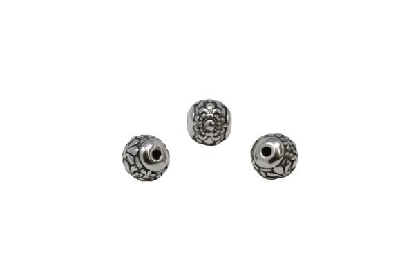 Stainless Steel 10mm Round Fleur de Lis Bead