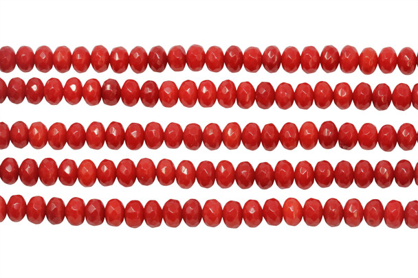 Red Coral Dyed Polished 4x6mm Faceted Rondel