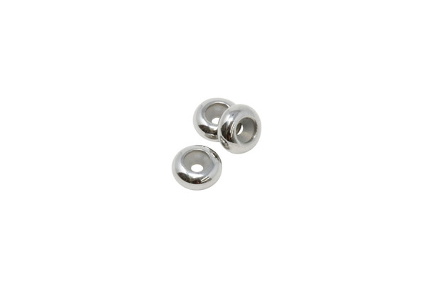 Silicone Rondel Bead - 8x4mm Sterling Silver