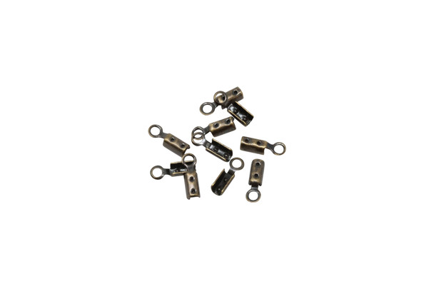 Antique Brass Plated 1mm Fold Over Crimp Ends - 10 Pieces