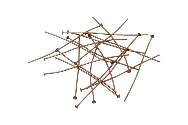 """Antique Copper 2"""" Long 22 Gauge Head Pins - 20 Pieces"""