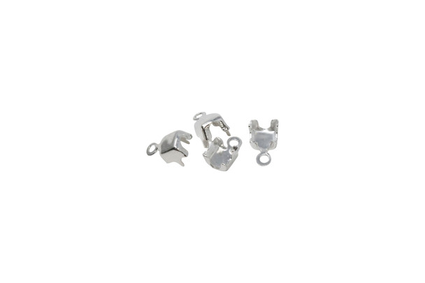 Silver Plated Rhinestone End Connector 4mm - 4 Pieces