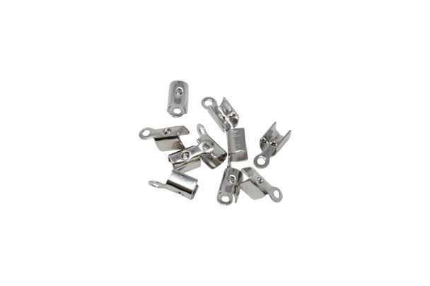 Nickel Plated 1.5mm Fold Over Crimp Ends - 10 Pieces