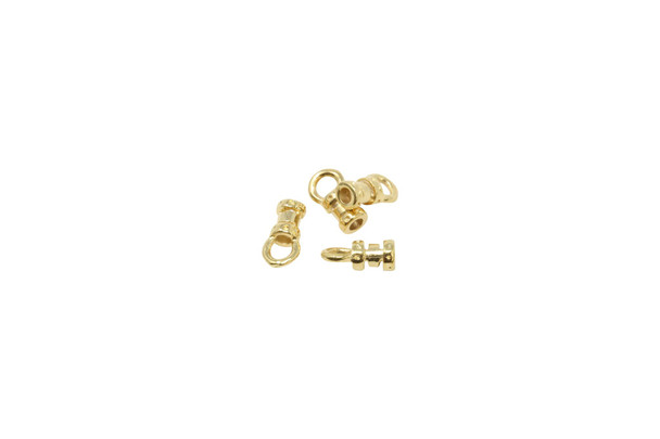 Gold Plated 1.5mm Leather Crimp End - 2 pairs