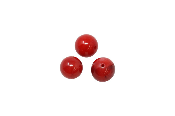 Red Coral Polished 10mm Round - Sold Individually