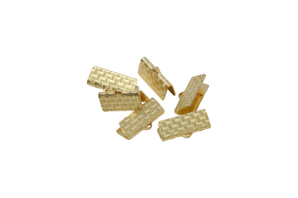 Gold Plated 19mm Flat Crimp Ends - 6 Pieces