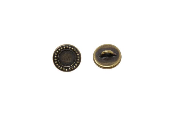 Beaded Bezel Button - Brass Plated