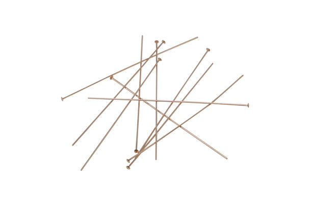 "14K Rose Gold Filled 2"" Long 24 Gauge Head Pins - 10 Pieces"