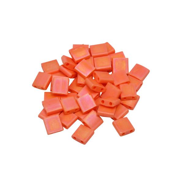 5mm Tila Beads -- Opaque Orange AB Matte