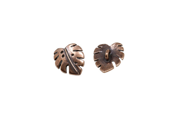 Monstera Button - Copper Plated