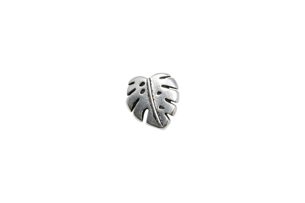 Monstera Button - Silver Plated