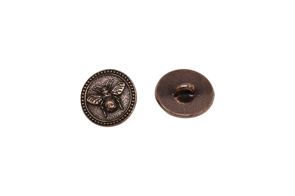Bee Button - Copper Plated