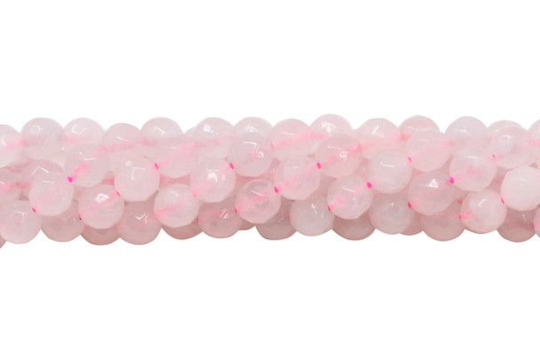 Rose Quartz Polished 8mm Faceted Round - 64 Cut