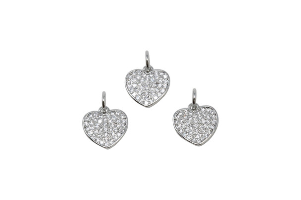 Silver Micro Pave 10mm Heart Charm