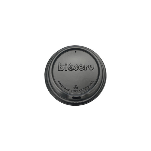HOT LID SIPPER (Biodegradable) - 80mm BLACK [BIOSERV] to suit 6-8-10 & 12oz SLIM Hot Cups