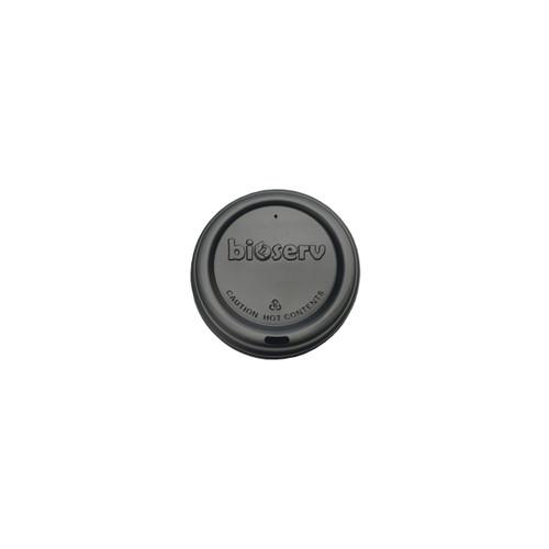 TRAVEL LID - Biodegradable - 62mm - BLACK [BIOSERV] suits 4oz Hot Cups