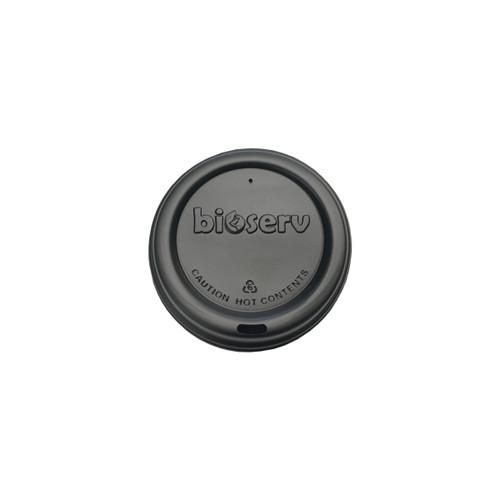 TRAVEL LID - Biodegradable - 80mm - BLACK [BIOSERV] suits 6-8-10 & 12oz SLIM Hot Cups