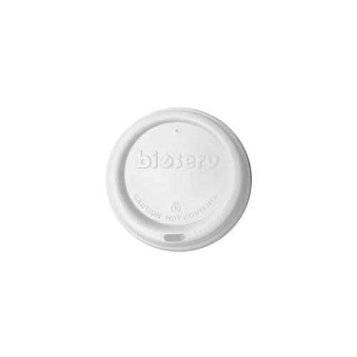 TRAVEL LID - Biodegradable - 80mm - WHITE [BIOSERV] suits 6oz 8oz 10oz & 12oz SLIM Hot Cups