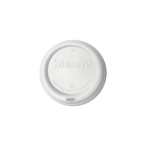TRAVEL LID - Biodegradable - 90mm - WHITE [BIOSERV] suits 12-16-20 & 8oz SQUAT Hot Cups
