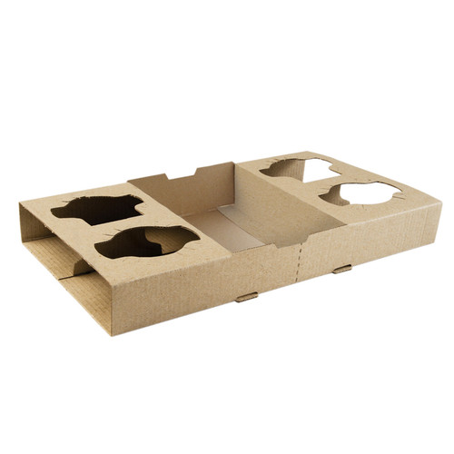 Cup Tray (Corrugated) - BIOSERV - Brown Kraft - 4 Cup Carrier