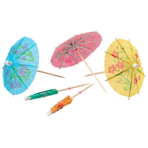 Drink Decorations - Cocktail Parasols Umbrellas Assorted Colours