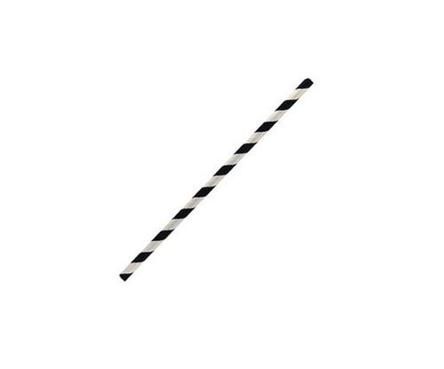 Straws (Paper) Cocktail - BLACK / WHITE Stripe 135mm x 6mm Bore