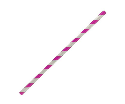 Straw (Paper) Regular - PINK / WHITE Stripe 205mm x 6mm Bore