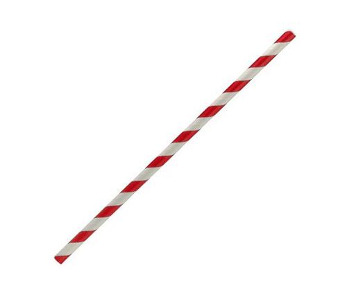 Straw (Paper) Regular - RED / WHITE Stripe - BIOSERV-[0256620] 197mm x 6mm Bore