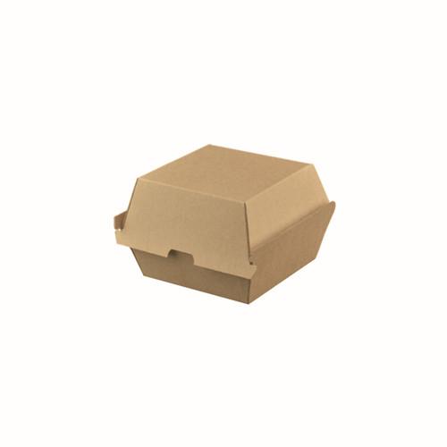Burger Box HIGH/JUMBO (Corrugated) - PLAIN Brown Kraft - 114x111x100mm