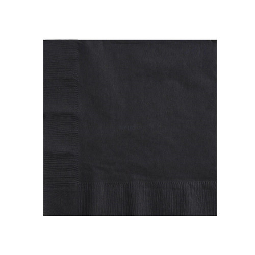 Napkin Dinner QUILTED - Black 1/4 fold