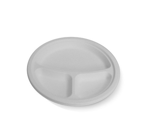 """Plate (Sugarcane) - Round 9"""" (2225mm) - 3 compart. - Biodegradable"""