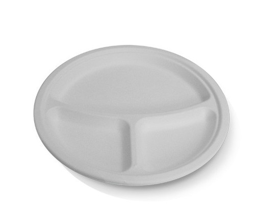 """Plate (Sugarcane) - Round 10"""" (254mm) - 3 compart. - Biodegradable"""