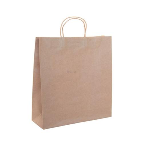Carry Bag - Brown Kraft Plain with BROWN Twist Handle - EX-SMALL - Block Bottom - 260x160+80mm - 500/CTN