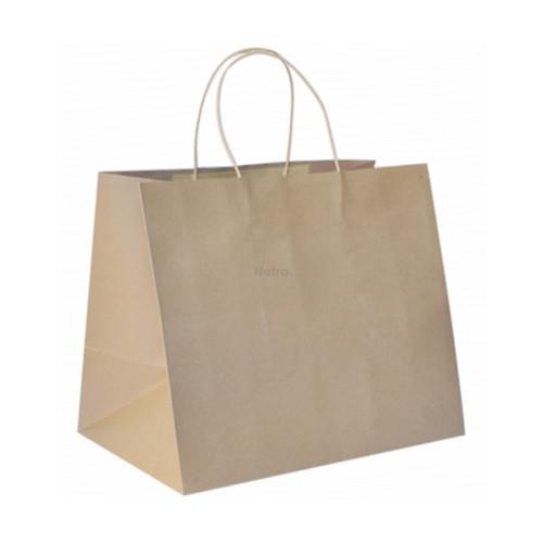 Carry Bag  - Brown Kraft Plain with BROWN Twist Handle - TAKEAWAY (LARGE) - 370x355+220mm