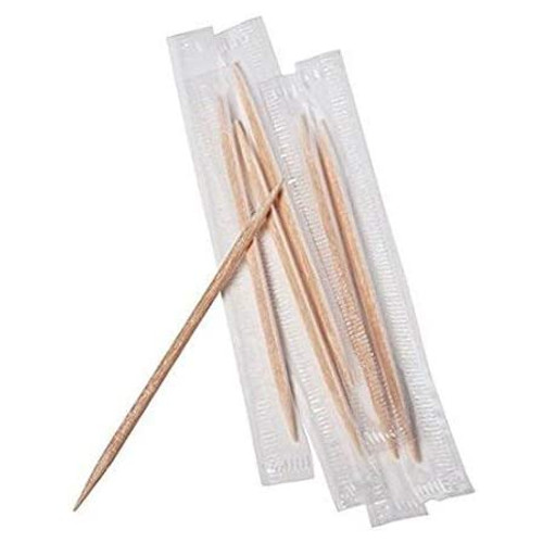 Toothpick - Double Ended 65mm Natural - Individually Cello Wrapped