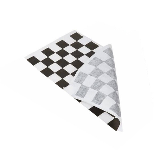 Greaseproof Paper Checkered BLACK & White - 1/3 Cut (3 Out) - 400x220mm