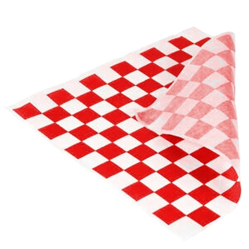 Greaseproof Paper Checkered RED & White - 1/2 Cut [2 Out] 400x330mm