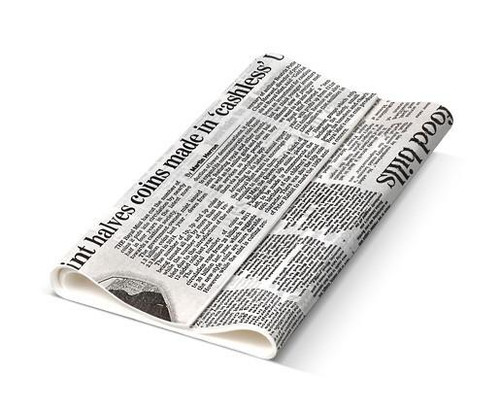 Greaseproof Paper NEWSPRINT Design - [4 Cut] 400 x 165mm LONG