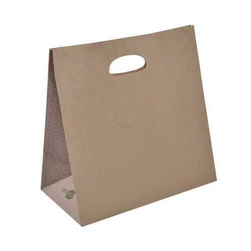 "Carry Bag - Brown Kraft Plain with D-CUT Handle - ""I am Eco"""