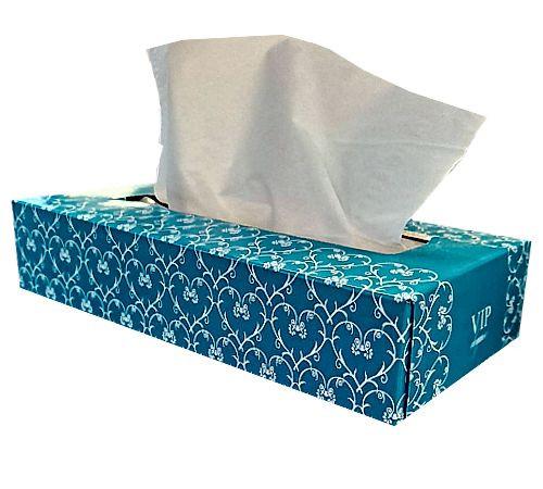 Facial Tissue - 100sht 2ply VIP Universal Hygiene - White