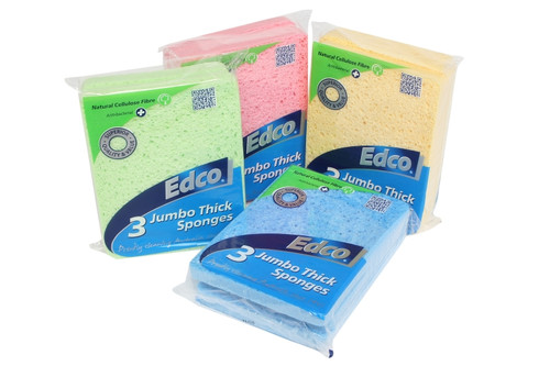 Cellulose Sponge Jumbo THICK 160 x 120 x 13mm Compostable - 3 pack