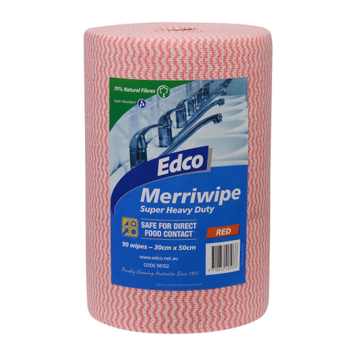 Merriwipe Super Heavy Duty Roll 45M x 30cm Perforated 90 Shts/roll - RED