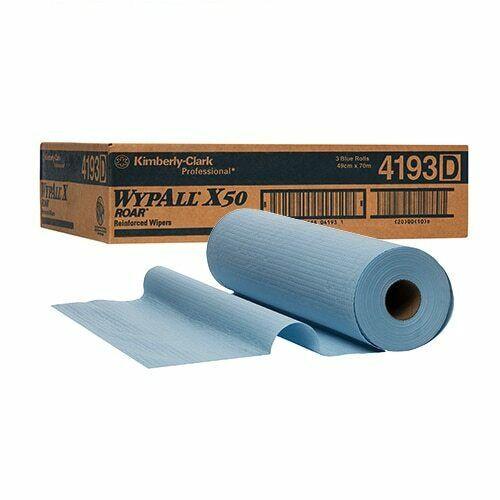 Wipe - WYPALL X50 4Ply Reinforced Roll 49cm x 70m [4193] - BLUE