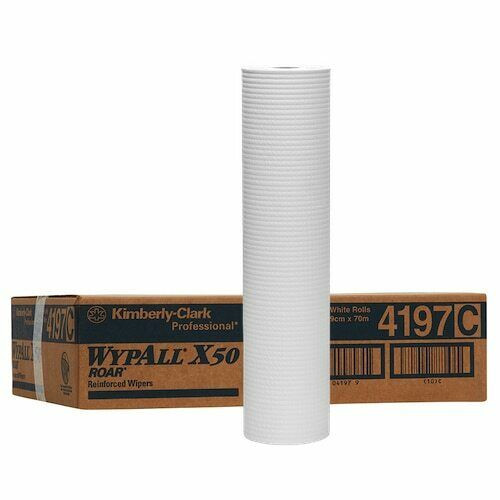 Wipe - WYPALL X50 4Ply Reinforced Roll 49cm x 70m - [4197] - WHITE