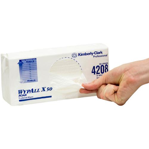 Wipe - WYPALL X50 4Ply Reinforced Sheet 24 x 42cm [4208] - WHITE
